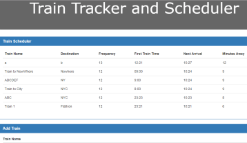 A train tracker using AJAX and Firebase.