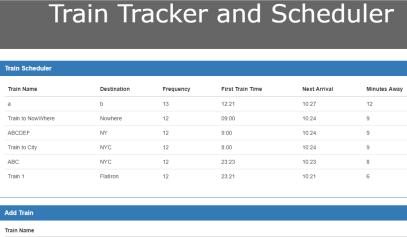 A train tracker using AJAX and Firebase.